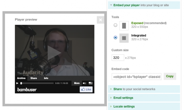 Bambuser live-streaming video player embed