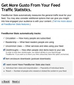 Feedburner setup: stats
