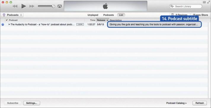 iTunes podcast subtitle